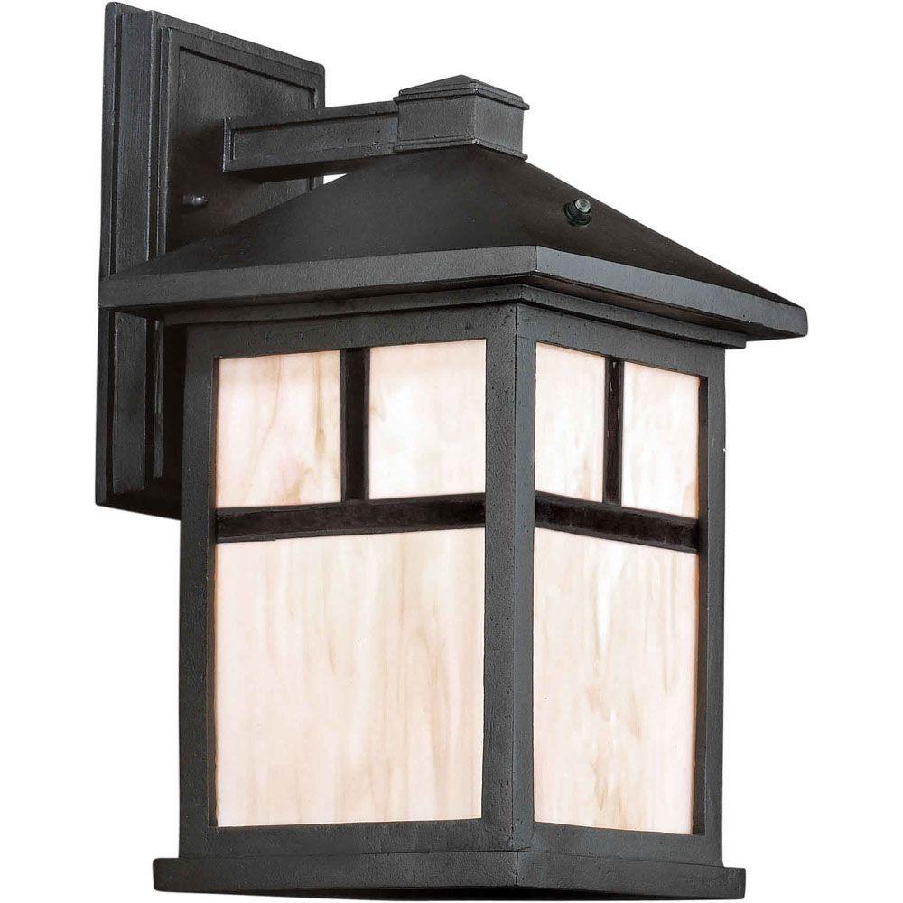 Burton 1 Light Black  Outdoor Compact Fluorescent Lighting Wall Light