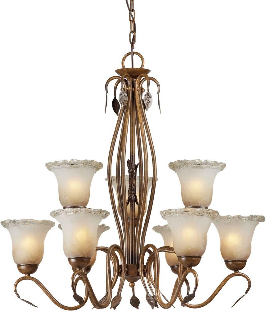Filament Design Burton 9-Light Ceiling Rustic Sienna Chandelier