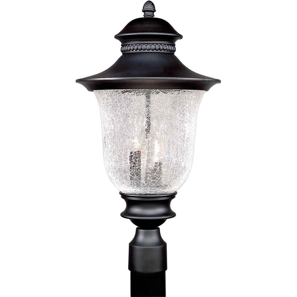 Burton 3-Light Black Outdoor Post Light
