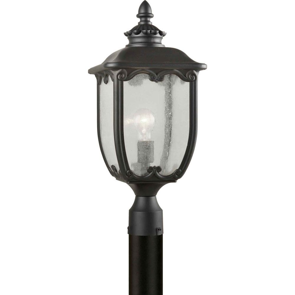 Burton 1-Light Black Outdoor Post Light