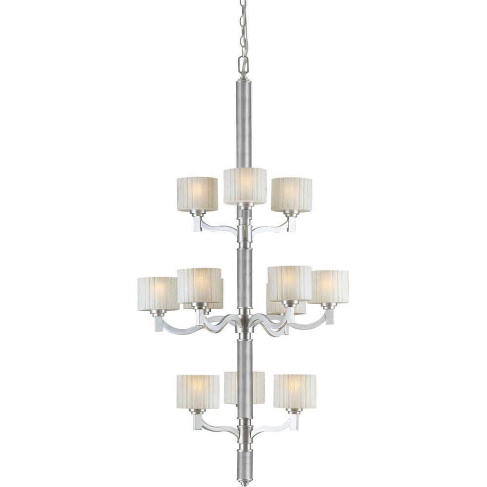 Burton 12-Light Ceiling Brushed Nickel Chandelier