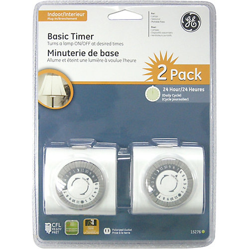 Plug-In Mechanical Timer White - 2 Pack