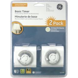 GE Plug-In Mechanical Timer White - 2 Pack