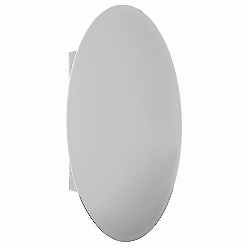 20-inch x 30-inch Recessed or Surface-Mount Bathroom Medicine Cabinet with Oval Beveled Mirror