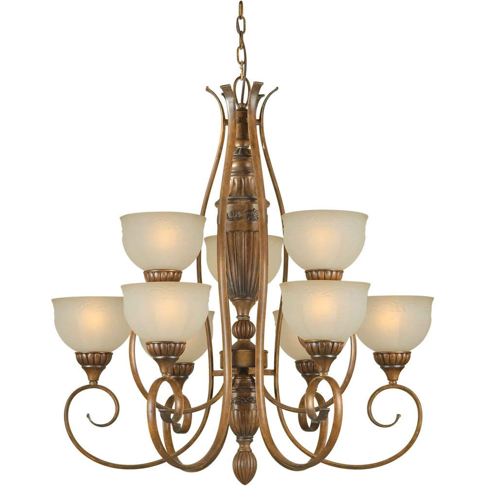 Burton 9-Light Ceiling Rustic Sienna Chandelier