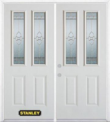 74-inch x 82-inch Marguerite 2-Lite 2-Panel White Double Steel Door with Astragal and Brickmould