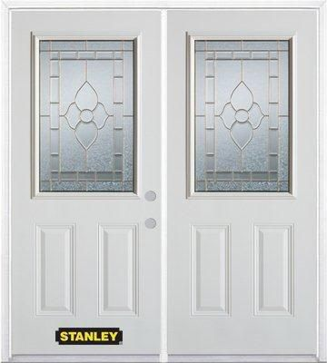 70-inch x 82-inch Marguerite 1/2-Lite 2-Panel White Double Steel Door with Astragal and Brickmoul...