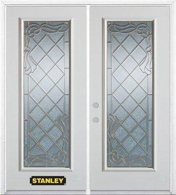 70-inch x 82-inch Queen Anne Full Lite White Double Steel Door with Astragal and Brickmould