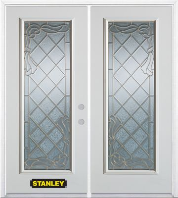 74-inch x 82-inch Queen Anne Full Lite White Double Steel Door with Astragal and Brickmould