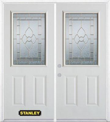 74-inch x 82-inch Marguerite 1/2-Lite 2-Panel White Double Steel Door with Astragal and Brickmoul...