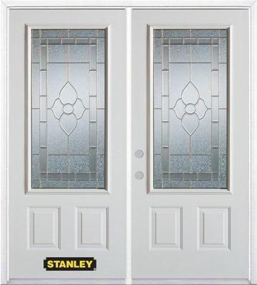74-inch x 82-inch Marguerite 3/4-Lite 2-Panel White Double Steel Door with Astragal and Brickmoul...