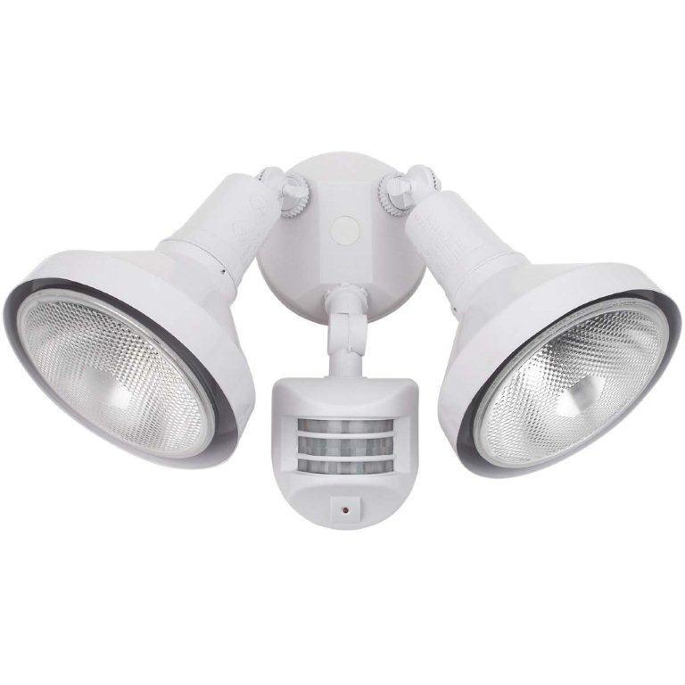 300 Watt Twin Lamp Motion Sensored Outdoor Security Light Fixture, White