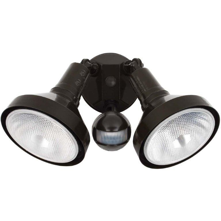 300 Watt Twin Lamp Motion Sensored Outdoor Security Light Fixture, Brown