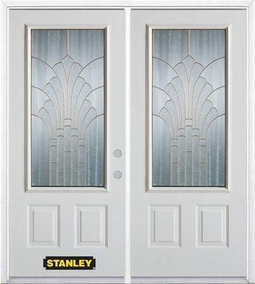 70-inch x 82-inch Gladis 3/4-Lite 2-Panel White Double Steel Door with Astragal and Brickmould