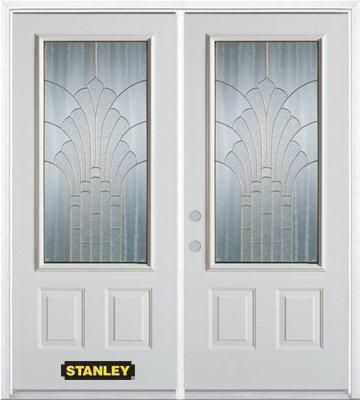 74-inch x 82-inch Gladis 3/4-Lite 2-Panel White Double Steel Door with Astragal and Brickmould