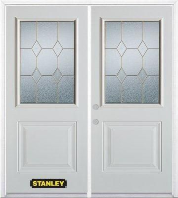 Stanley Doors 71 inch x 82.375 inch Tulip Brass 1/2 Lite 1-Panel Prefinished White Right-Hand Inswing Steel Prehung Double Door with Astragal and Brickmould