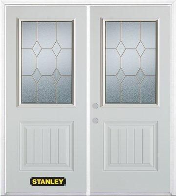 66-inch x 82-inch Tulip 1/2-Lite 1-Panel White Double Steel Door with Astragal and Brickmould