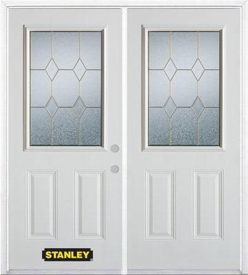 66-inch x 82-inch Tulip 1/2-Lite 2-Panel White Double Steel Door with Astragal and Brickmould