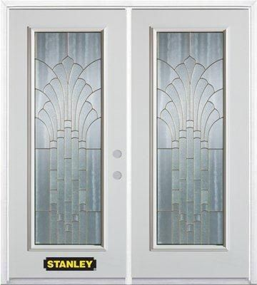70-inch x 82-inch Gladis Full Lite White Double Steel Door with Astragal and Brickmould