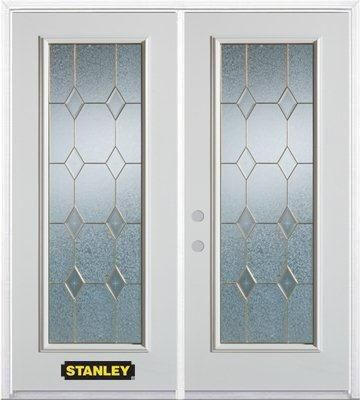 66-inch x 82-inch Tulip Full Lite White Double Steel Door with Astragal and Brickmould
