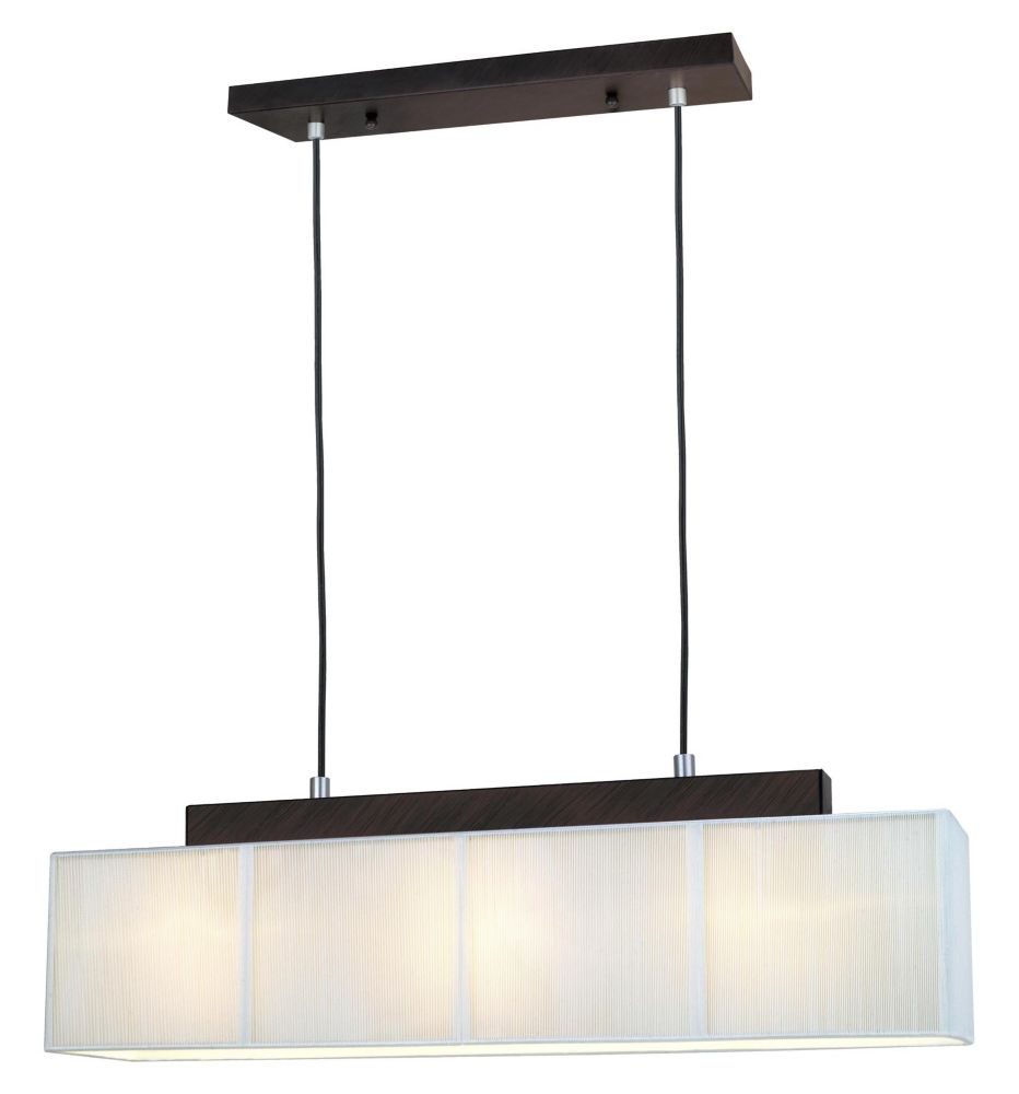 Eglo Tosca 3-Light Pendant Fixture with Cream String Shade in Antique Brown