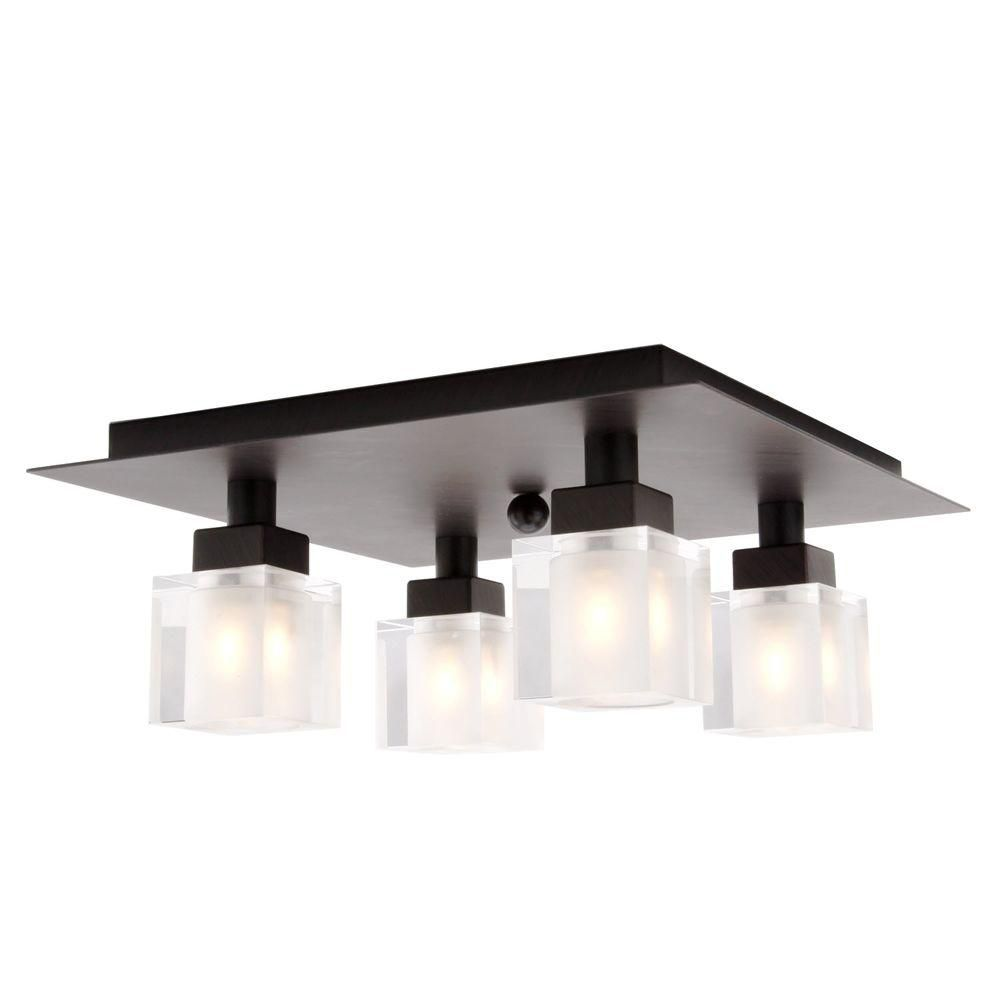 Eglo Tenno 4-Light Ceiling Fixture in Antique Brown with Genuine Lead Crystal