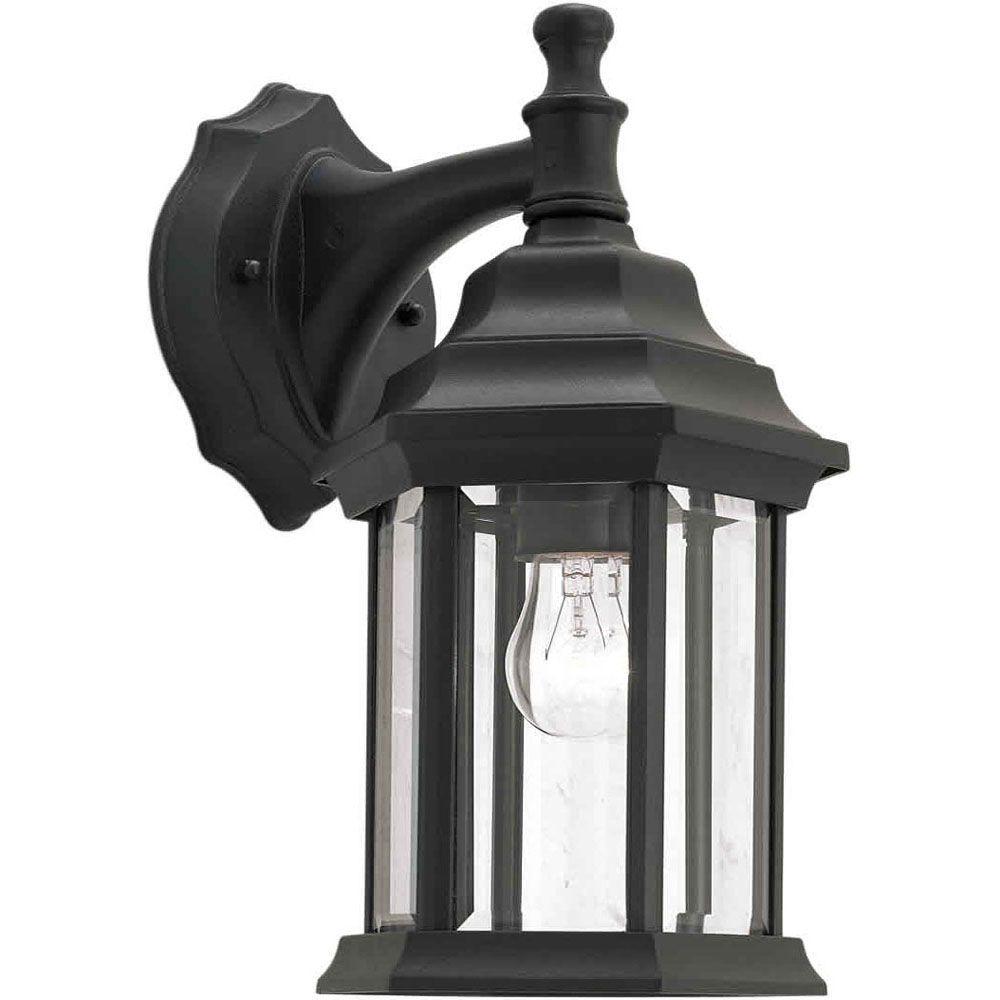 Burton 1 Light Black  Outdoor Incandescent Wall Light
