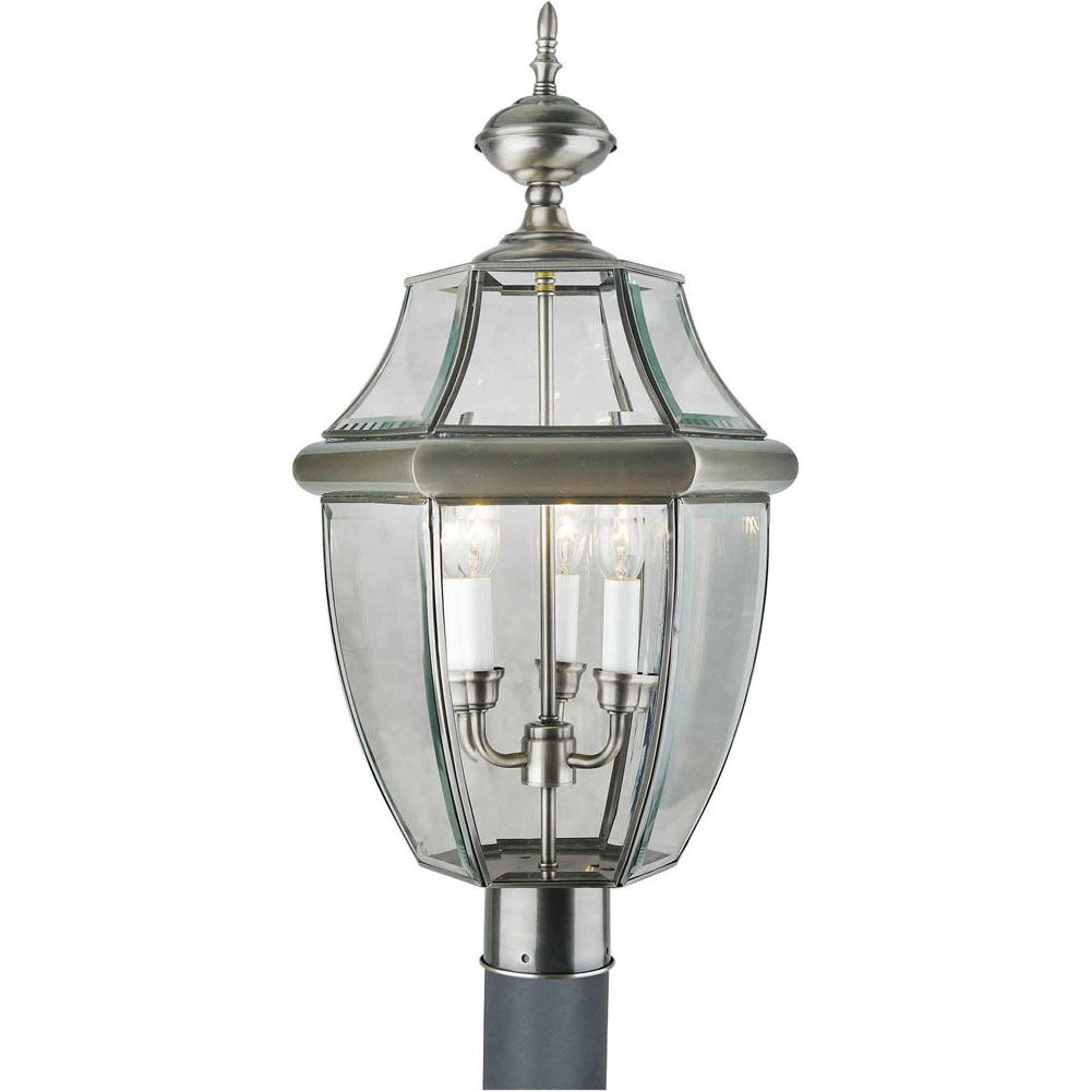 Burton 3 Light Antique Pewter Outdoor Incandescent Post Light CLI-FRT16040334 Canada Discount