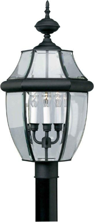 Burton 3-Light BlackOutdoor Post Light