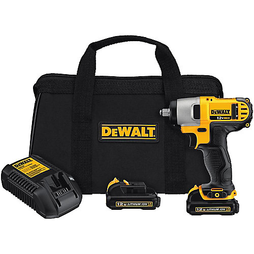 12V MAX Li-Ion Cordless 3/8-inch Impact Wrench Kit w/ (2) Batteries 1.5Ah, Charger and Contractor Bag
