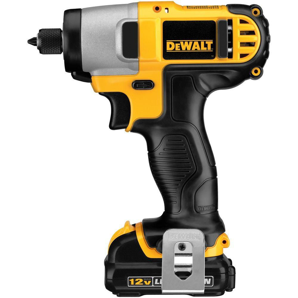 DEWALT 12V MAX Lithium-Ion 1/4-inch Cordless Impact Driver Kit with 2 Batteries, Charger and Contractor Bag