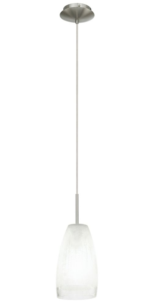 Eglo Crash Pendant Light, Matte Nickel with Satin Crackle Gass