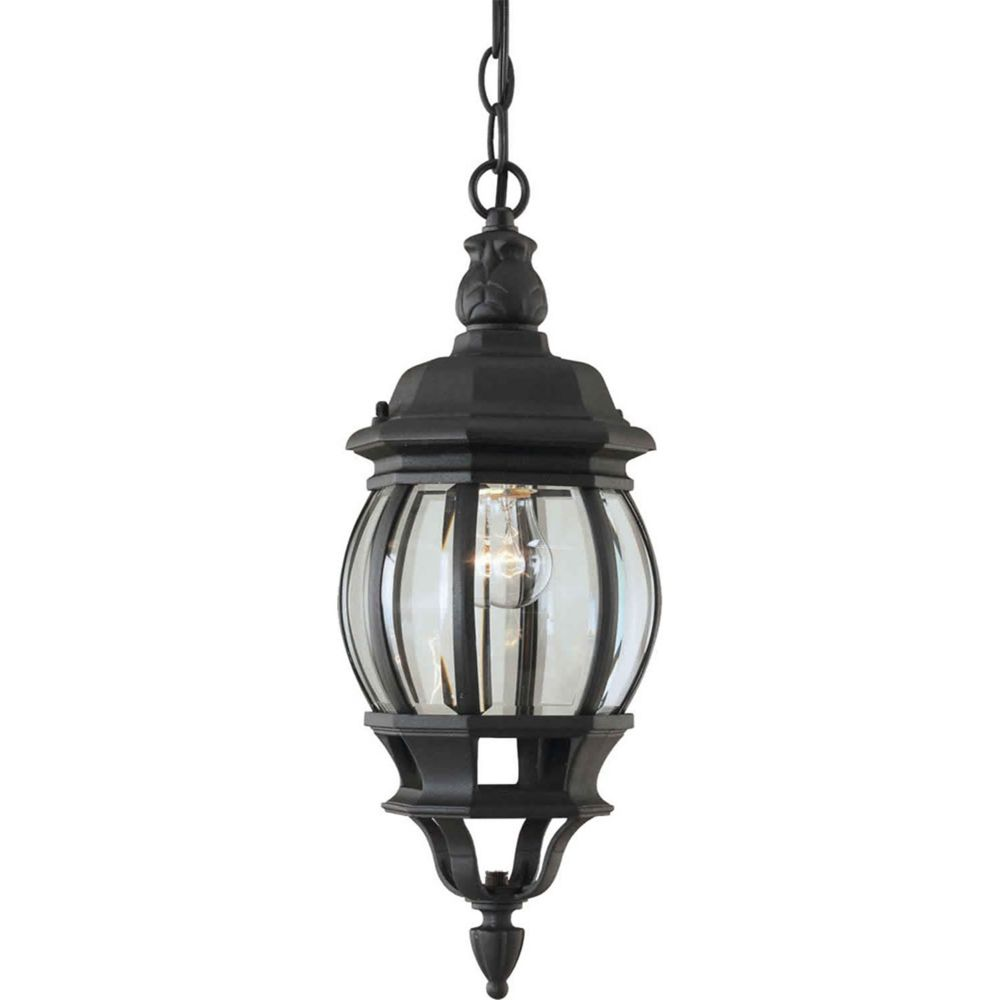 Porch Light Pendant: Filament Design Burton 1-Light Black Outdoor Ceiling-Light