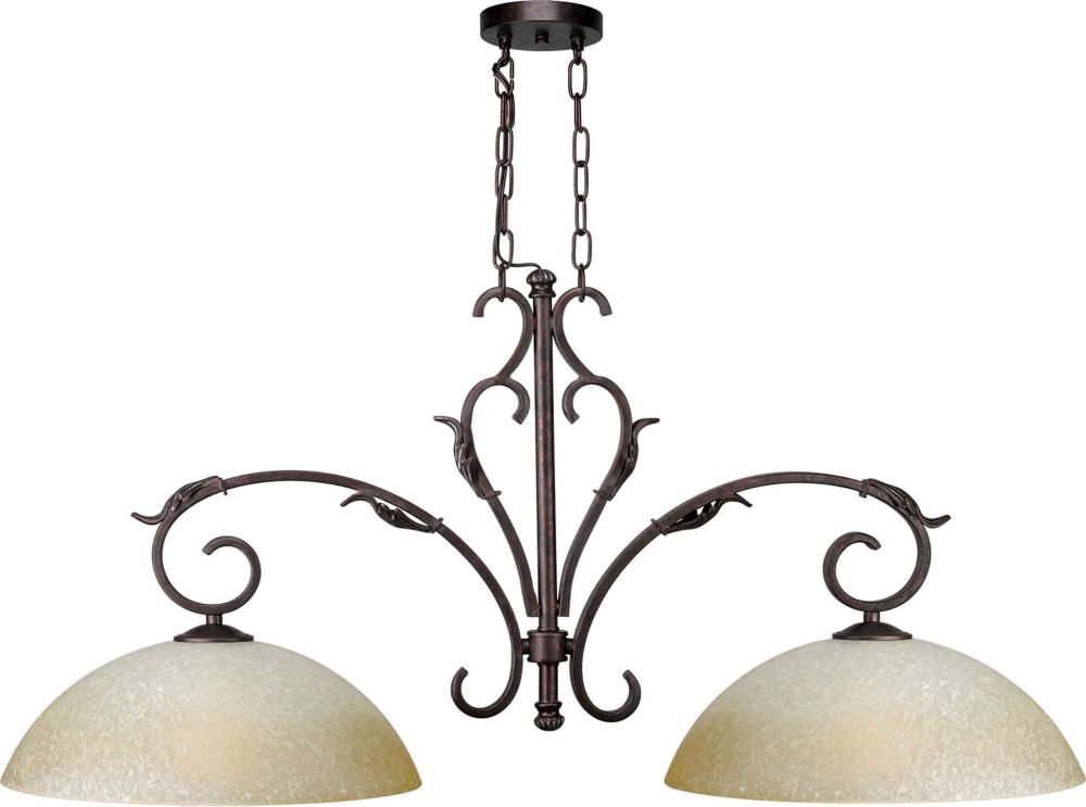 Burton 2 Light Ceiling Black Cherry  Incandescent Island Pendants