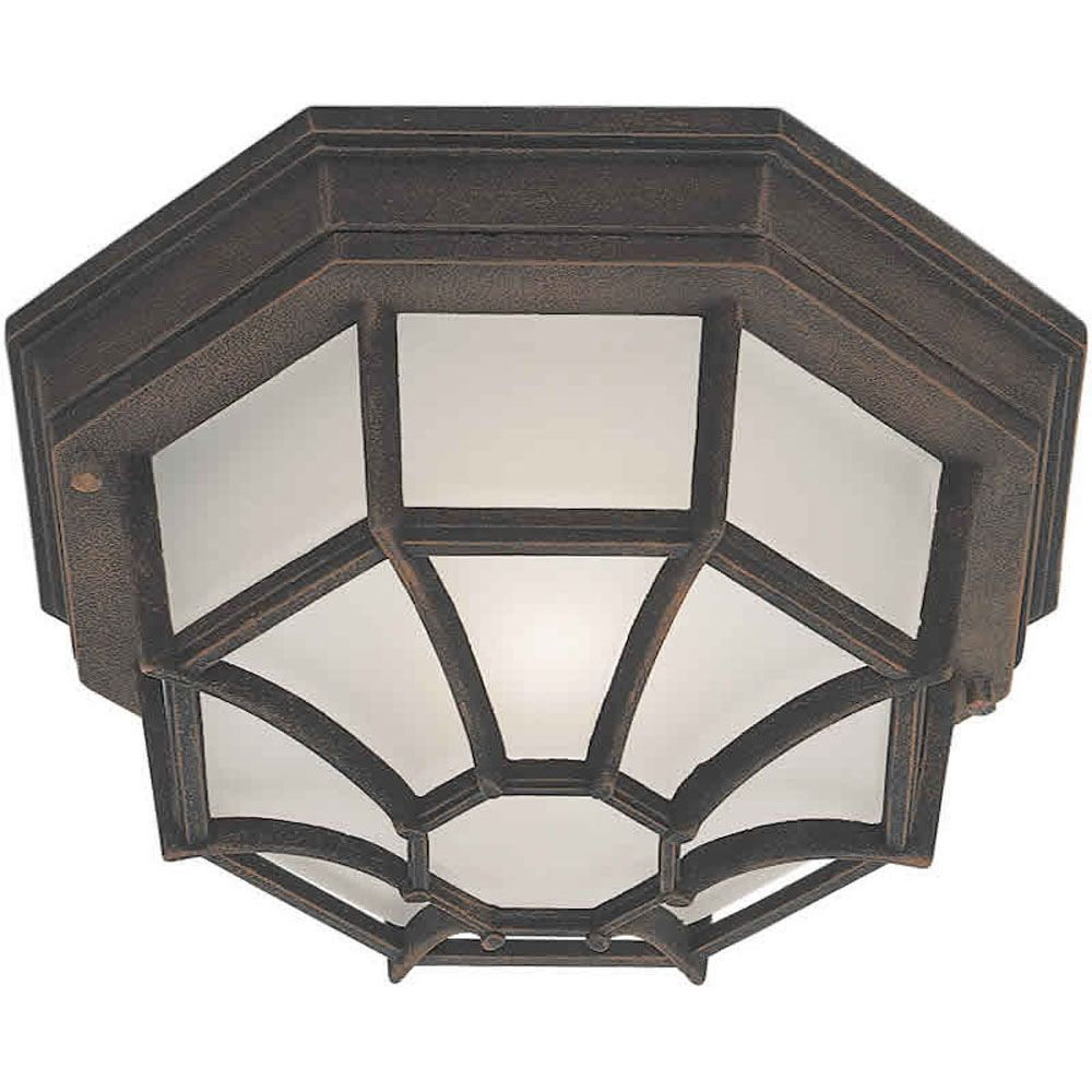 Burton 1 Light Painted Rust  Outdoor Compact Fluorescent Lighting Ceiling Light