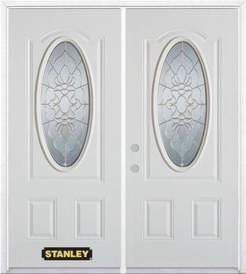 66-inch x 82-inch Victoria Oval 3/4-Lite White Double Steel Door with Astragal and Brickmould