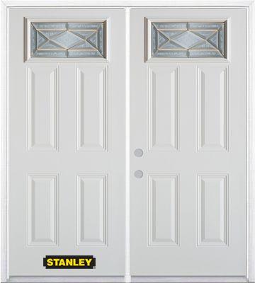 Porte dentrée double en acier préfini blanc, munie de quatre panneaux et dun verre rectangulaire ...