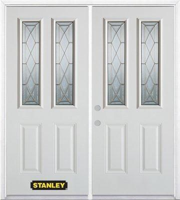 66-inch x 82-inch Queen Anne 2-Lite 2-Panel White Double Steel Door with Astragal and Brickmould