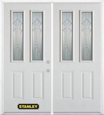 70 In. x 82 In. 2-Lite 2-Panel Pre-Finished White Double Steel Entry Door with Astragal and Brick...