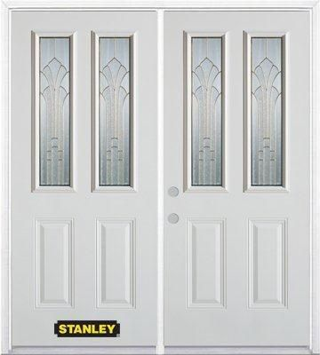 70-inch x 82-inch Gladis 2-Lite 2-Panel White Double Steel Door with Astragal and Brickmould