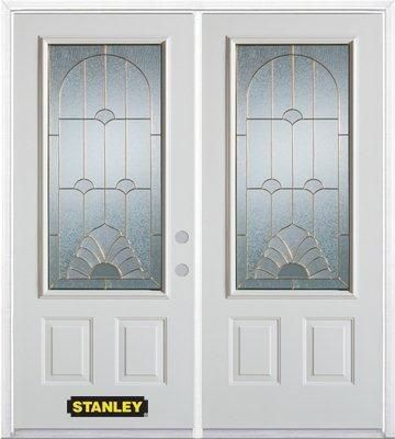 66-inch x 82-inch Florentine 3/4-Lite 2-Panel White Double Steel Door with Astragal and Brickmoul...