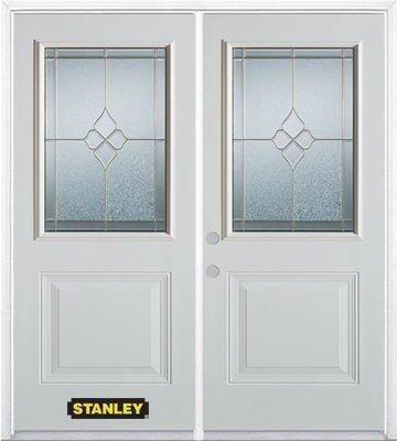 Porte dentrée double en acier préfini blanc, munie d'un panneau et dun 1/2 verre, 66 po x 82 po a...