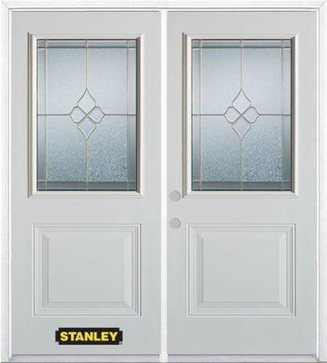 66-inch x 82-inch Beatrice 1/2-Lite 1-Panel White Double Steel Door with Astragal and Brickmould