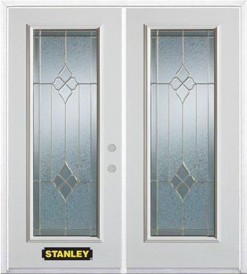 74-inch x 82-inch Beatrice Full Lite White Double Steel Door with Astragal and Brickmould