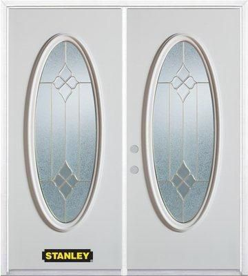 74-inch x 82-inch Beatrice Full Oval Lite White Double Steel Door with Astragal and Brickmould