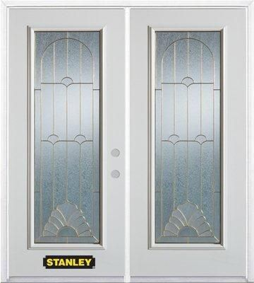74-inch x 82-inch Florentine Full Lite White Double Steel Door with Astragal and Brickmould