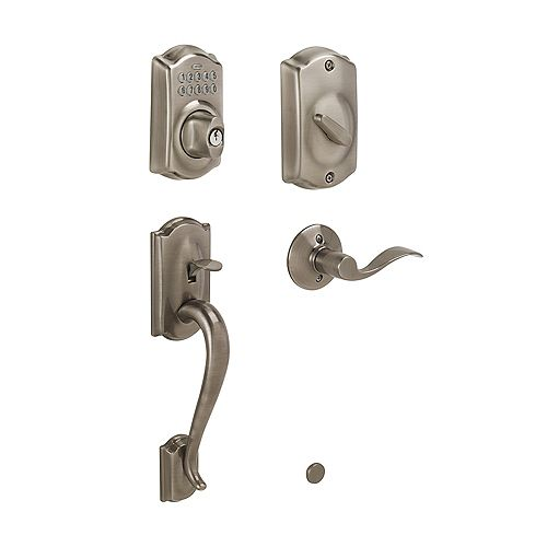 Schlage Camelot Antique Pewter Deadbolt Keyless Entry Keypad Door Handle Set
