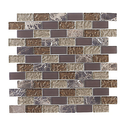 Emperador 12 Inch X Gl And Marble Mosaic Brick Wall Tile