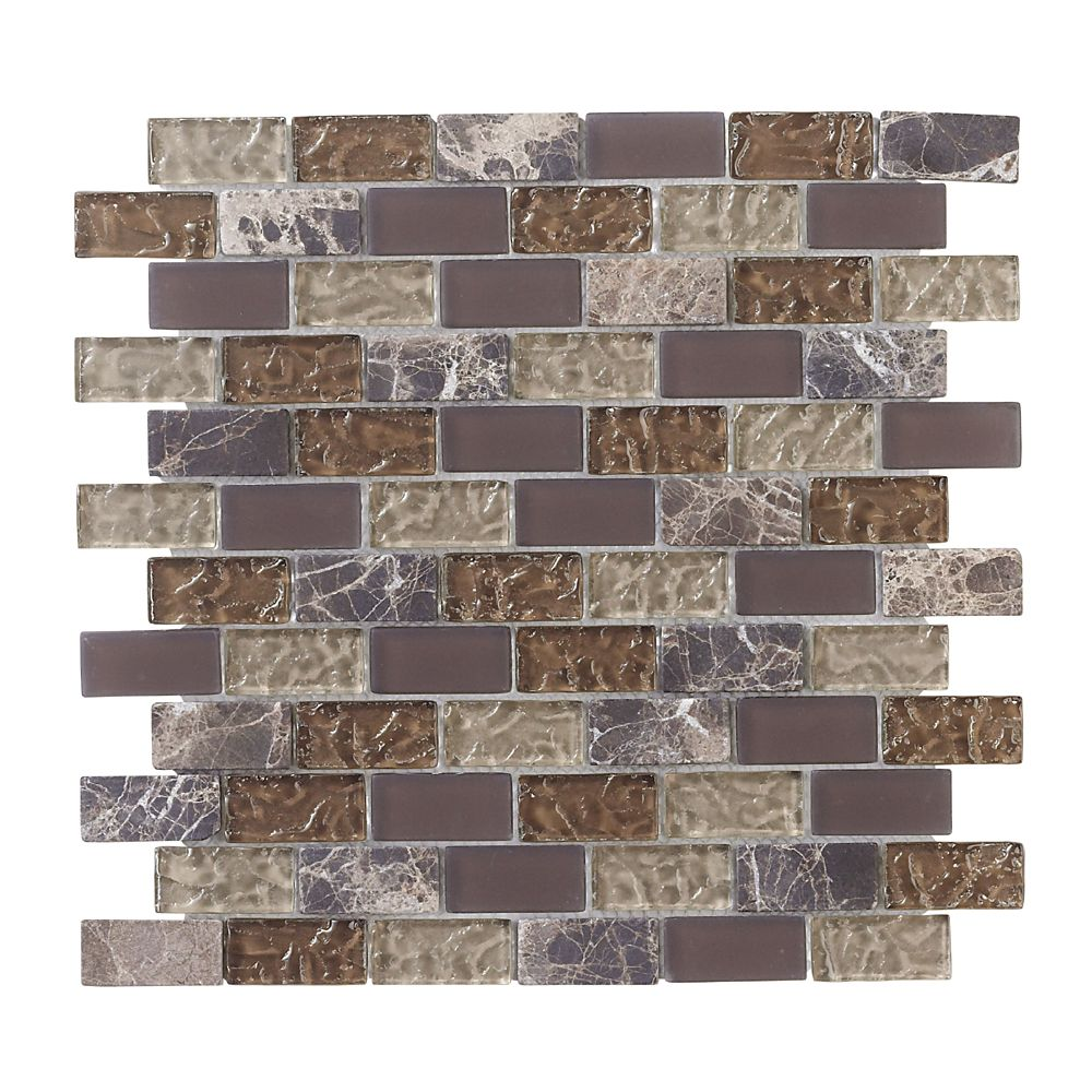 Jeffrey Court Emperador 12-inch x 12-inch Glass and Marble Mosaic Brick Wall Tile