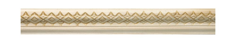 White Hardwood Embossed Diamond & Dart Base Cap 3/4 X 1-1/4 - Sold Per 8 Foot Piece